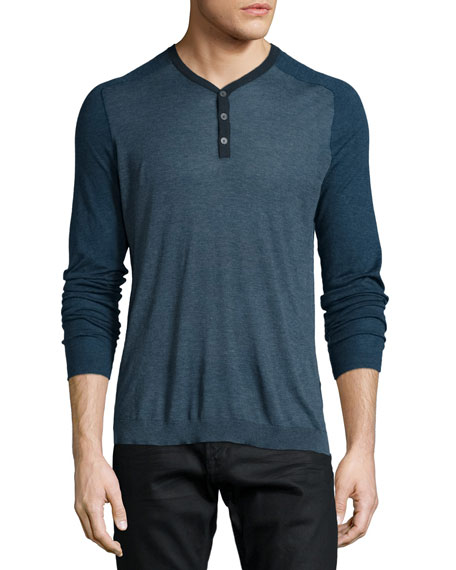 John Varvatos Star USA Raglan-Sleeve Knit Henley Shirt,