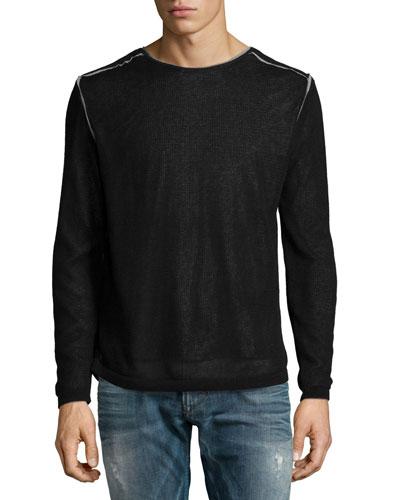 Double-Layer Crewneck Sweater, Black