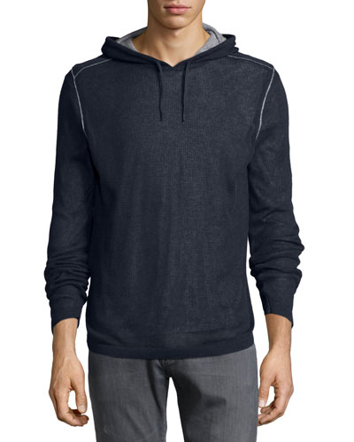 Double-Layer Hooded Pullover, Black
