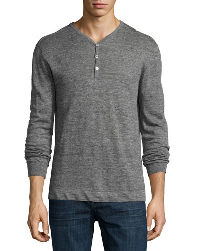 Long-Sleeve Linen Henley Shirt, Gray