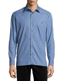 Dot Print Sport Shirt, Blue