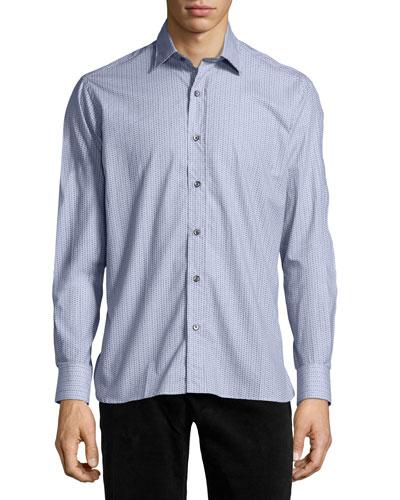Patterned Sport Shirt, Gray