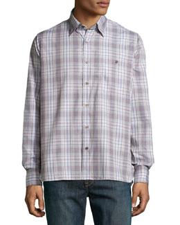 Check Sport Shirt, Gray/Beige