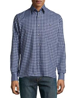Check Sport Shirt, Brown/Blue