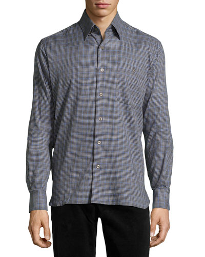 Check Sport Shirt, Blue/Navy