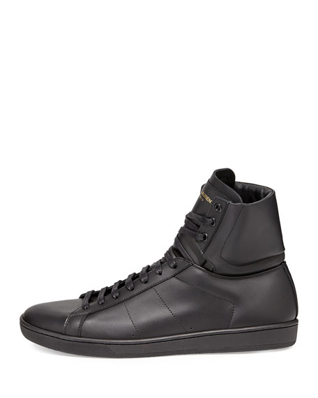 Men's Leather High-Top Sneakers, Black