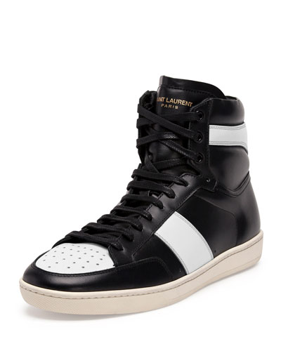 Contrast-Stripe Leather High-Top Sneaker, Black/White
