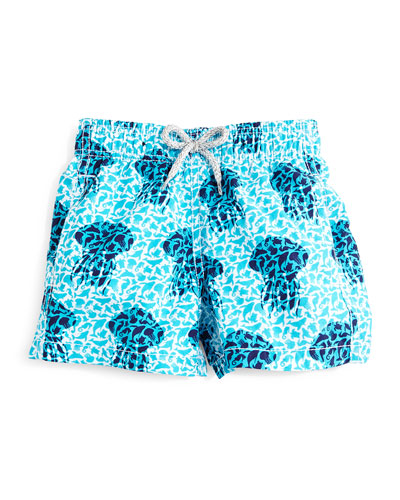 Jim Jellyfish-Print Swim Trunks, Blue, Boys