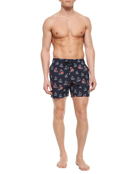 Vilebrequin Mistral Sailboat Embroidered Swim Trunks, Navy