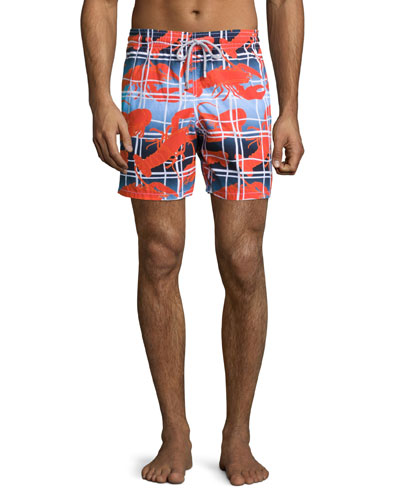 Moorea Lobster-Print Swim Trunks, Red