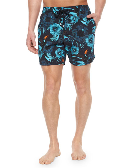Vilebrequin Moorea Toucan-Print Swim Trunks, Navy