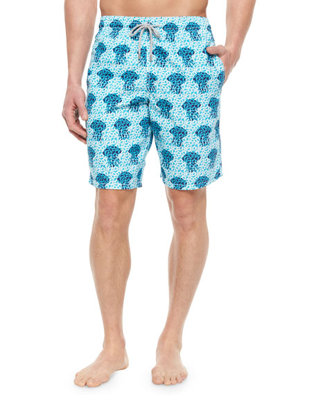 Vilebrequin Okoa Jellyfish Print Boardshorts, Blue