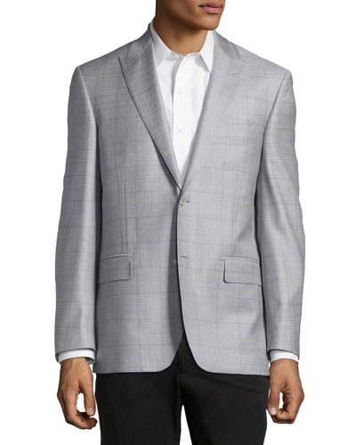 Windowpane Sport Coat, Silver/Purple, Regular Length
