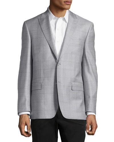 Windowpane Sport Coat, Silver/Purple, Regular Length
