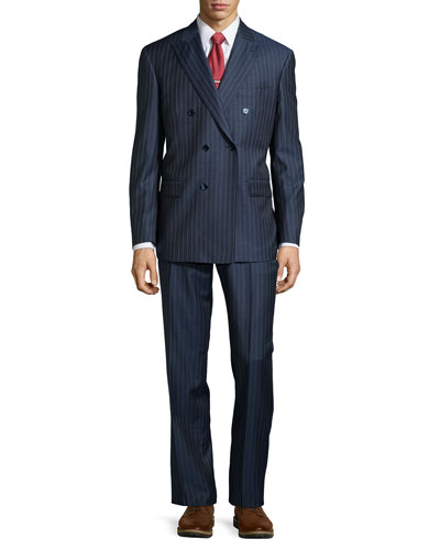 Two-Piece Stripe Suit, Mid Blue, Short