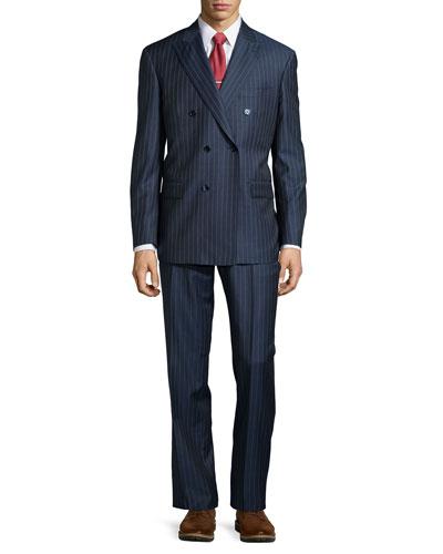 Two-Piece Stripe Suit, Mid Blue, Short