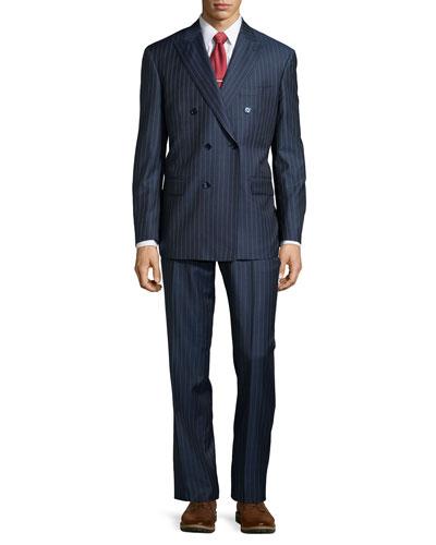 Two-Piece Stripe Suit, Mid Blue, Regular Length
