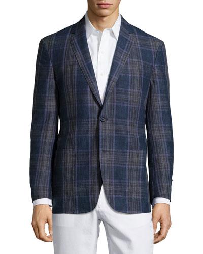 Plaid Sport Coat, Blue/Purple, Regular Length
