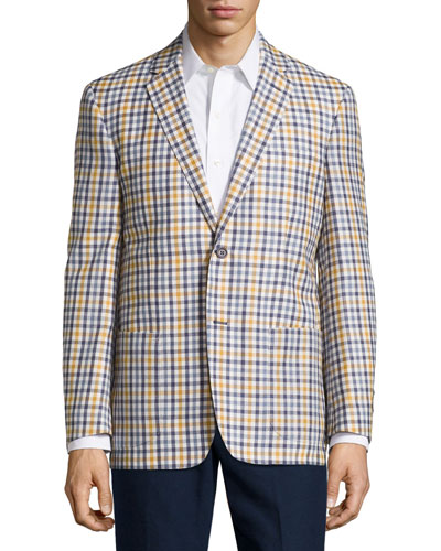 Check Sport Coat, Gray/Yellow, Regular Length