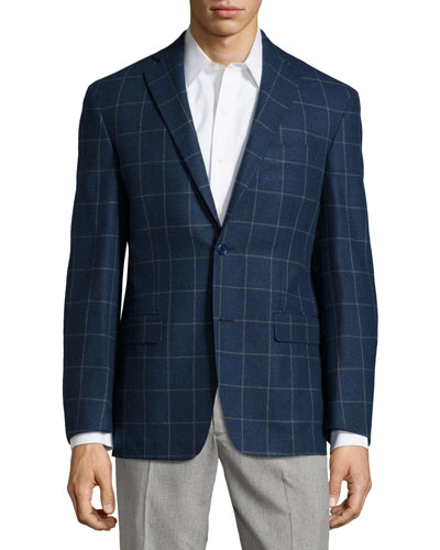 Plaid Sport Coat, Blue, Short