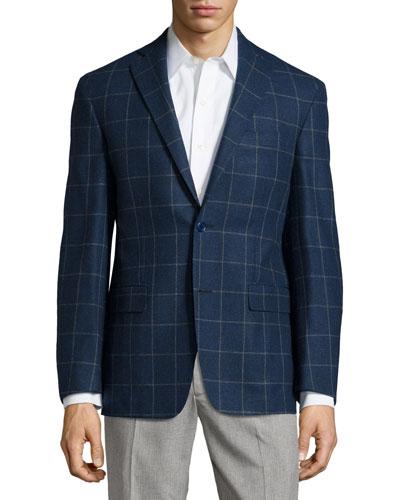 Plaid Sport Coat, Blue, Regular Length