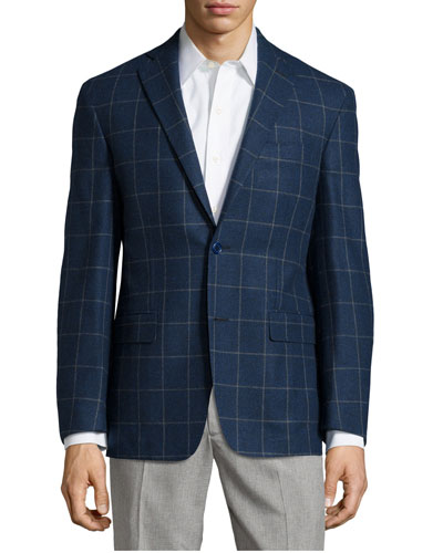 Plaid Sport Coat, Blue, Long