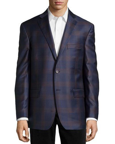 Plaid Sport Coat, Navy/Brown, Long
