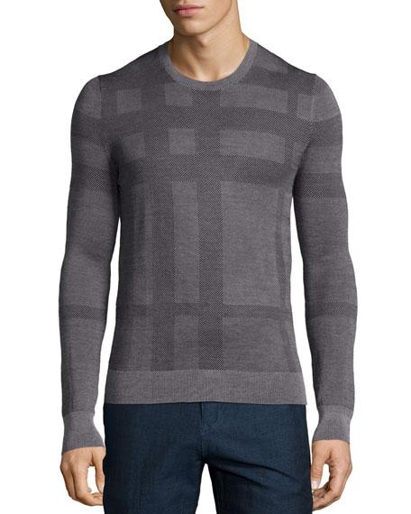 Burberry London Tonal Check Crewneck Sweater, Gray