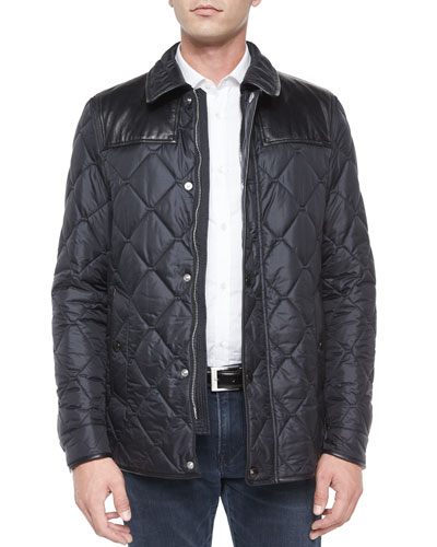 Diamond-Quilted Nylon Jacket with Leather, Black