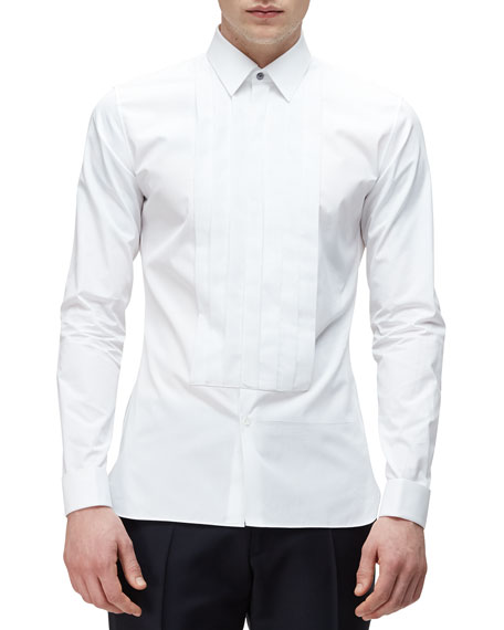 Burberry London Long-Sleeve Formal Tuxedo Shirt, White