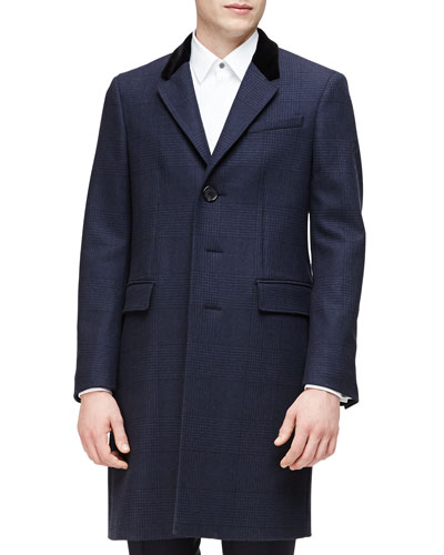 Single-Breasted Plaid Overcoat, Navy