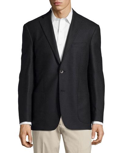 Solid Sport Coat, Black, Regular Length
