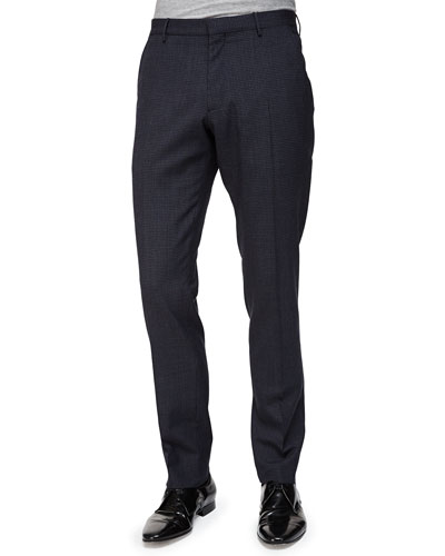 Mini-Check Flat-Front Wool Trousers, Navy