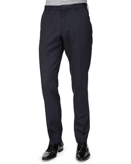 Burberry LondonMini-Check Flat-Front Wool Trousers, Navy