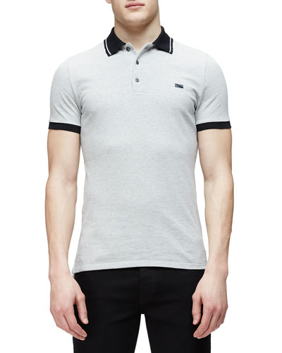 Short-Sleeve Contrast Collar Polo Shirt, Gray