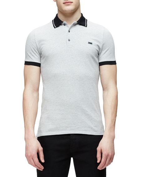 Burberry London Short-Sleeve Contrast Collar Polo Shirt, Gray