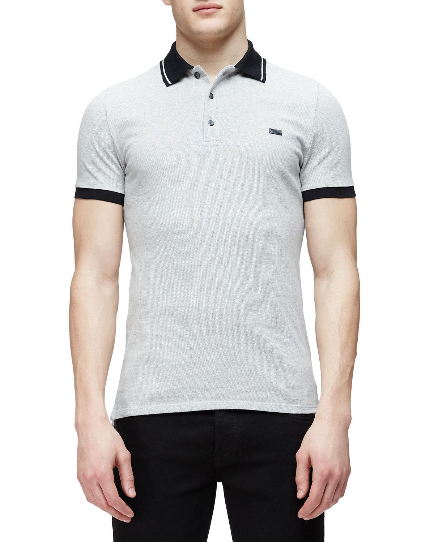 fb907f59 Burberry Short-Sleeve Contrast Collar Polo Shirt, Gray | Neiman Marcus
