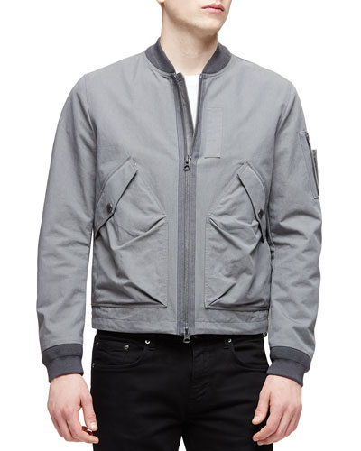 Garment-Wash Zip-Up Jacket, Gray