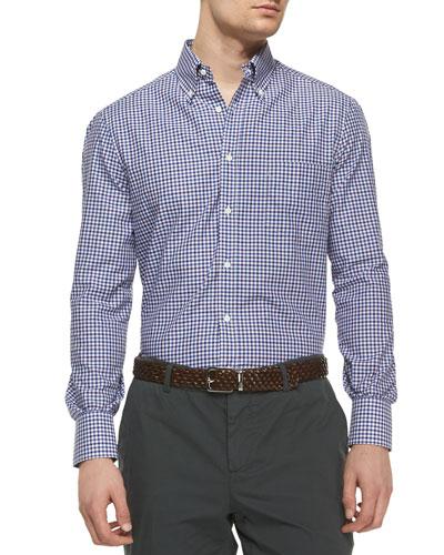 Check Long-Sleeve Sport Shirt, Purple/Blue