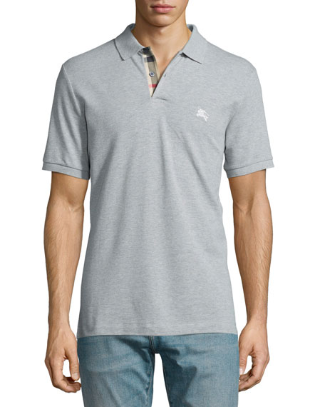 Burberry Short-Sleeve Pique Polo Shirt, Gray