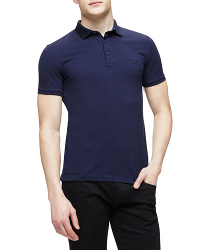 Short-Sleeve Cotton-Blend Pique Polo Shirt, Navy
