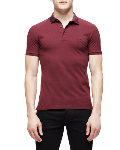 Short-Sleeve Cotton-Blend Pique Polo Shirt, Burgundy