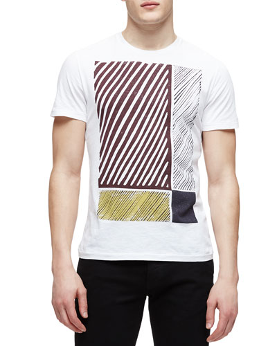 Abstract-Print Tee, White
