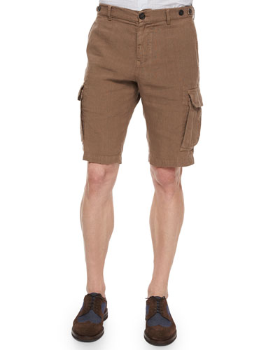 Slim-Fit Woven Cargo Shorts, Brown