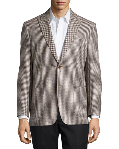 Houndstooth Sport Coat, Tan, Regular Length