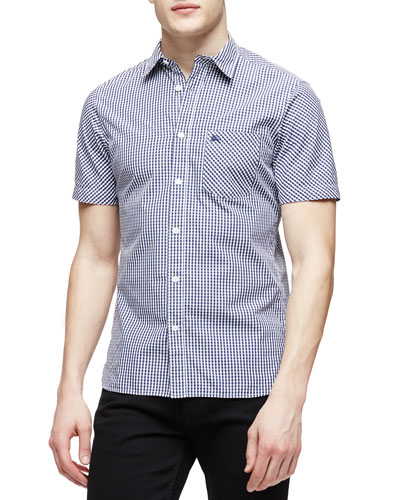 Short-Sleeve Gingham Pattern Shirt, Navy