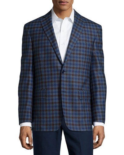 Wool Plaid Sport Coat, Blue/Brown Check, Short