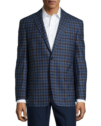Wool Plaid Sport Coat, Blue/Brown Check, Long