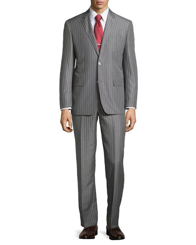 Stripe Two-Piece Suit, Gray, Regular Length