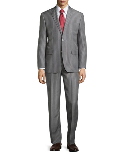 Stripe Two-Piece Suit, Gray, Long